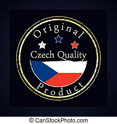 Gold grunge stamp with the text Czech quality and original product. Label contains Czech flag.