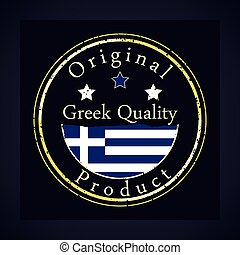 Gold grunge stamp with the text Greek quality and original product.