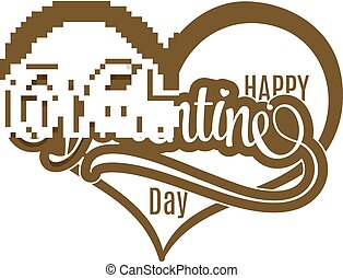 Gold grunge stamp with  the text Happy Valentine