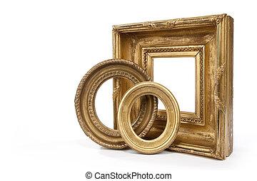 gold, guilded, oval, und, rechteckig