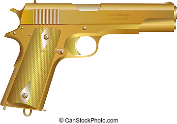Gold gun - isolated illustration of gold gun on white...