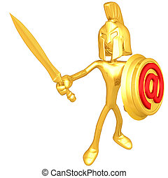 Gold Guy Spartan With Email Shield