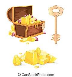 gold, hölzern, weinlese, abbildung, brust, vektor