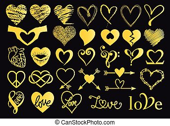 Gold hand drawn hearts, vector set
