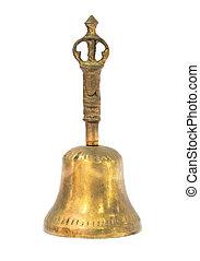 Gold handbell on white background