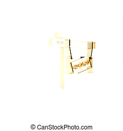 Gold Hanging sign with text Sold icon isolated on white background. Sold sticker. Sold signboard. 3d illustration 3D render