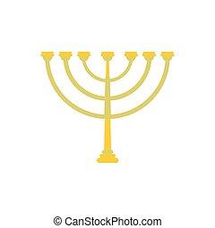 Gold hanukkah menorah flat icon