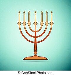 Gold Hanukkah menorah icon on blue background. Vector Illustration
