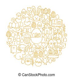 Gold Happy Easter Holiday Line Icons Set Circle Shape