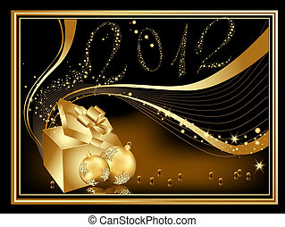 Gold Happy New Year 2012 background