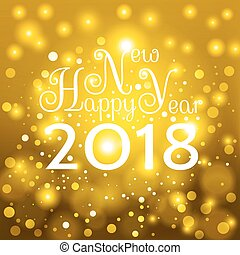 Gold Happy New Year 2018 card