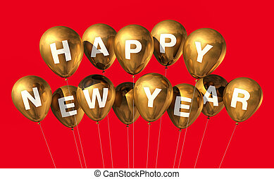 gold happy new year balloons