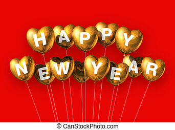 gold happy new year heart shaped balloons