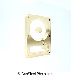 Gold Hard disk drive HDD icon isolated on white background. 3d illustration 3D render