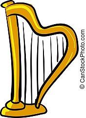 Gold harp, illustration, vector on white background.