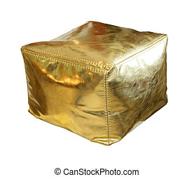 Retro gold hassock isolated with clipping path included