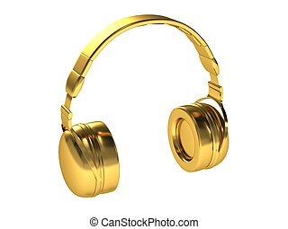 Gold headphones isolated on a white background.