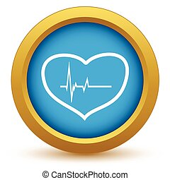 Gold heart beating icon