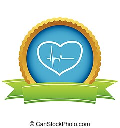 Gold heart beating logo