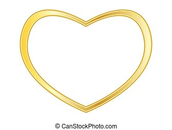 Gold heart frame isolated on white background