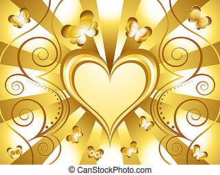 Gold Heart Holiday Background