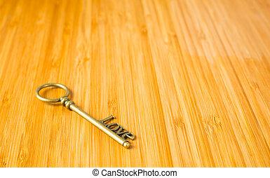 Gold heart key
