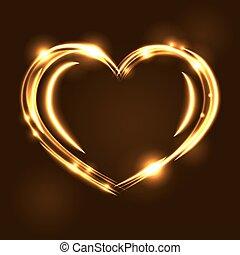Gold heart light tracing effect