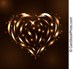 Gold heart light tracing effect Glowing