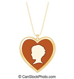 Gold Heart Locket, Child Cameo