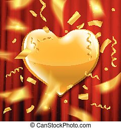 Gold heart on a red background.