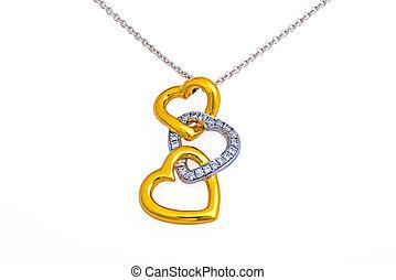 Gold heart pendant, necklace - Gold pendant, necklace, 3...