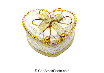 Gold Heart Shaped Jewel Box close up.