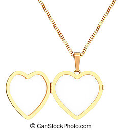 Gold heart shaped locket on chain isolated on white...