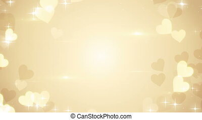 gold heart shapes on bright background loop - gold heart...