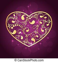 gold heart textured