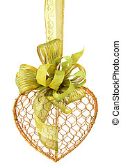 Gold Heart with Green Ribbon