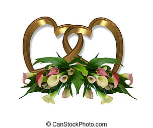 Image and illustration composition of pink calla lilies and gold hearts for wedding birthday party invitation