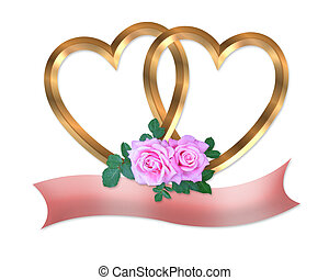 Gold hearts and pink roses