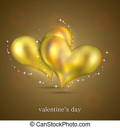gold hearts background for your design. Vector illustration
