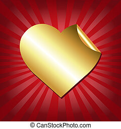 Gold Hearts Label With Red Sunburst