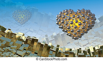 Gold hearts made of spheres flying in the space over abstract mountain landscape background of metal boxes. Decorative greeting postcard for international Woman's Day. 3d illustration