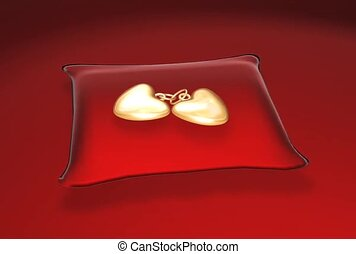 Gold Hearts on a Pillow