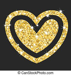 gold hearts on black