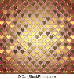 Gold hearts on red background , Valentine's day celebration