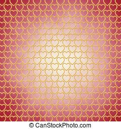 Gold hearts on red background , Valentine's day celebration