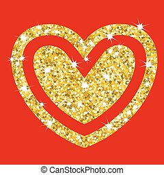 gold hearts on red
