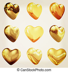 Gold hearts set for wedding design . 3D illustration. Vintage style.