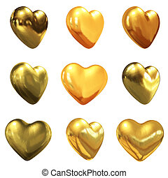 Gold hearts set for wedding design