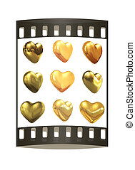 Gold hearts set for wedding design. The film strip