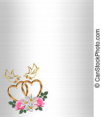Gold Hearts Wedding design - 3D Illustrated Gold Hearts and...